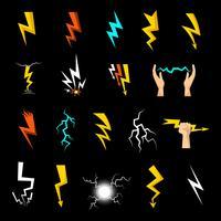 Lightning Ikoner Set vektor