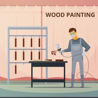 Professionelle Holzarbeit, die flaches Plakat malt