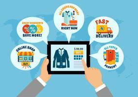 Einkaufen auf Tablet-Online-Zusammensetzung vektor