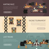Kartrennen Motorrennen Banner vektor