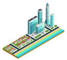 Isometrische Wolkenkratzer und Vorstadthaus-Zusammensetzung vektor