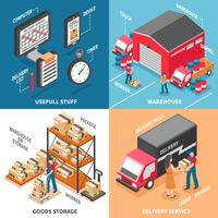 Isometrisches Konzept der Logistik 2x2