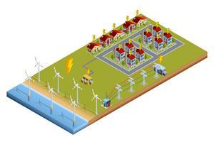 Elektrisk kraftgenereringsstation isometrisk layout