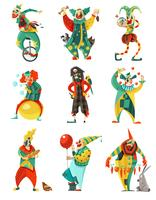 Cirkus Clowns Icons Set vektor