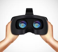Hände, die VR-Kopfhörer-realistisches Bild halten