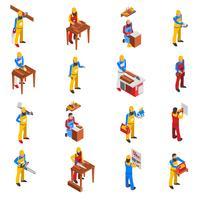 Träarbete Människor Ikoner Set