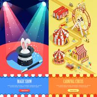 Circus isometrisk vertikal banners webbsida design