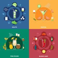 cocktail ikonuppsättning