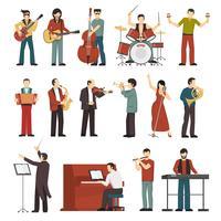 musiker färg ikoner uppsättning vektor