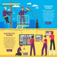 Leute, die elektrische Arbeiten horizontale Fahnen tun