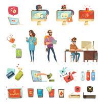Hackers Aktiviteter Retro Cartoon Icons Set