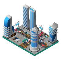 Stad av framtida isometrisk mall