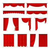 Luxus rote Vorhänge Vorhänge Realistische Set vektor