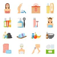 Hudvård och kroppsvård platt ikoner vektor