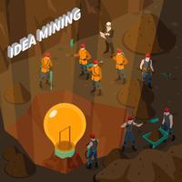 idé mining isometrisk koncept