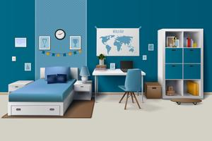 Teen Boy Room Interior Realistisk bild vektor