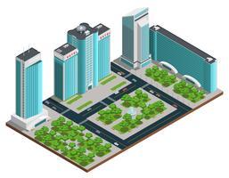 Moderne Stadt isometrische Zusammensetzung
