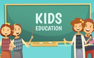 Barn Primär Utbildning Tecknad Poster vektor