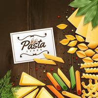 Bakgrund med olika typer av pasta