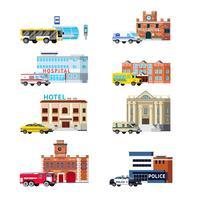 Städtische Dienstleistungen und Gebäude Orthogonales Set