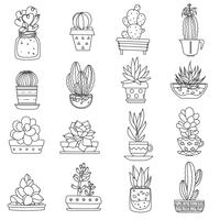 Kaktus Linie Icons Set vektor