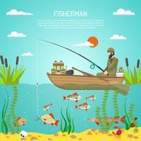 fiskare färg design koncept vektor