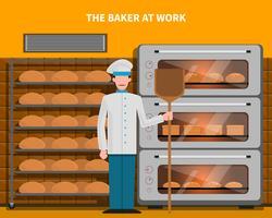 Bäcker am Arbeitskonzept vektor