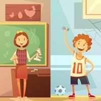 Barnutbildning 2 vertikala tecknade banners vektor