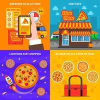 Pizza konseptuppsättning vektor