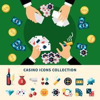 casino ikoner samling platt komposition