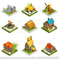 Medeltida byggnader Isometrisk samling vektor