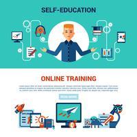 Online-Bildung horizontale Banner-Set