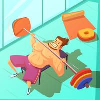 Weightlifting Cartoon Illustration vektor