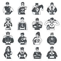 Superheld Schwarz Weiß Icons Set