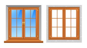 Träfönster inomhus utomhus realistiska ikoner