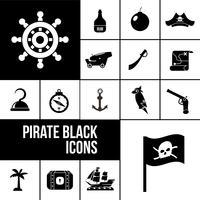 Piratikonikoner svart uppsättning