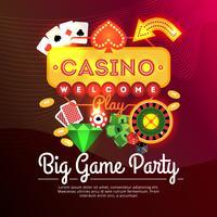 Willkommenes Kasino-Plakat