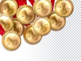 Golden Medals Första Vinnare Bakgrund Poster vektor