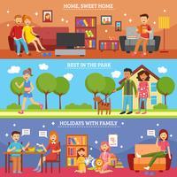 Familien-Banner-Set vektor