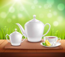 Elements of Tea Service Composition vektor