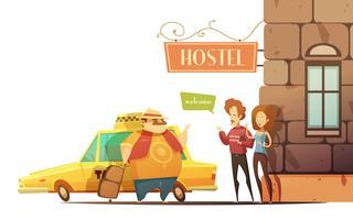 Herberge-Design-Konzept mit den Managern, die Touristen begrüßen