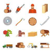 Sågverk Timber Icon Set vektor