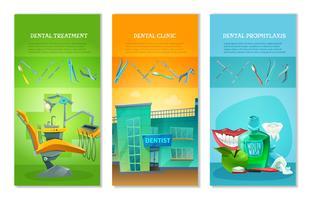 Zahnarzt 3 flache vertikale Banner Set