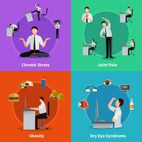 Konzept des Büro-Syndroms 2x2