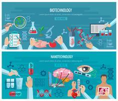 Horisontell bioteknik och nanoteknologi Banners vektor