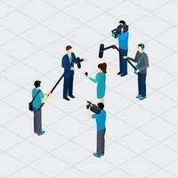 Journalistischer Beruf Teamwork Isometric Banner