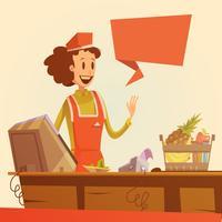 saleswoman retro illustration
