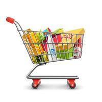 Einkaufssupermarkt-Wagen mit Lebensmittelgeschäft-Piktogramm