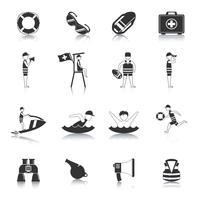 Rettungsschwimmer schwarz Icons Set