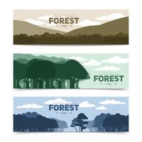 träd skog banners uppsättning vektor